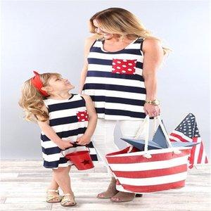 USA Flag zurück Bowknot Frauen Mutter-Tochter-Matching-Kleider 2018 Sommer-Mädchen-Sleeveless Kleid Kleidung
