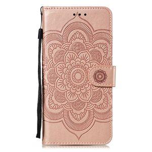 New Sun Mandala Embossed pu Phone Case with Credit Card Slot Pocket Card ID Slot Flip for Huawei nova5 honor x9 pro