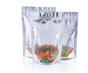 Stand Up Pouch Taschen wiederverschließbaren Mylar Food Storage Clear Front mit Aluminiumfolie Zurück Für trockenes Kraut Kaffee / Tee / Nuss
