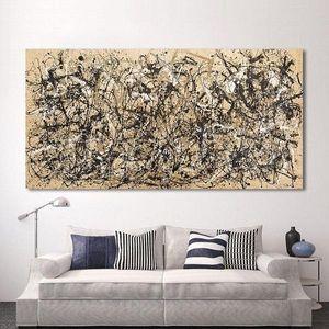 """Jackson Pollock """"Sonbahar Ritim"""" Yüksek Kalite Handpainted Modern Duvar Sanat Ev Dekorasyonu Canva On Soyut Sanat Yağlıboya."""