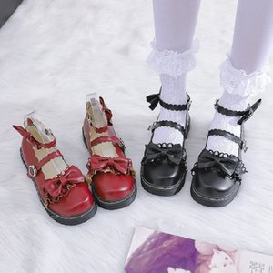 Japanese Mori female Lolita single shoes female summer retro bow flat soft girl student lolita shoes