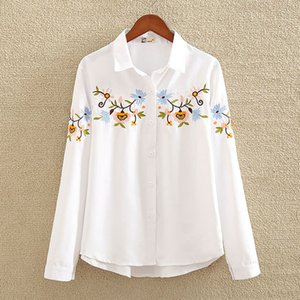 Nvyou Gou 2019 Floral Bestickte Bluse Shirt Damen Slim White Tops Langarm Blusen Damen Office Shirts Plus Size MX190711