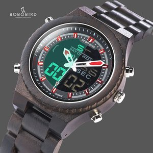 New Arrival BOBO BIRD Wooden Band Mens Watches Multinational Digital Wristwatches with Night Light and Week Display C-P02