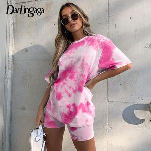 Darlingaga Streetwear Tie Dye Two Piece Set Tracksuit Women Fashion Workout Summer Top and Biker Shorts Oufits Matching Sets New