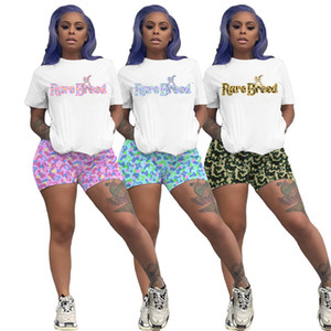 Plus size 3X Summer Women sportswear sports two piece set short sleeve white T-shirt shorts casual print tracksuit designer outfits 3199