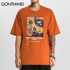GONTHWID Funny Jesus Aliens UFO Print Short Sleeve T Shirts Hip Hop Casual Streetwear Tshirts Men Hipster 2020 Summer Tops Tees MX200509