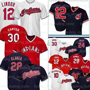 12 Francisco Lindor 30 Joe Carter Jersey Andrew Miller 24 10 Edwin Encarnacion 28 Corey Kluber Uomini Baseball Maglie