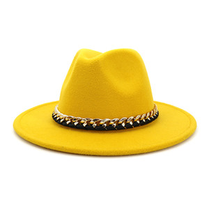 2020 Trendy İmitasyon Yün Metal Zinciri Vintage Büyük Brim Caz Trilby Şapka Kadınlar Bayanlar Parti Elbise Hat ile Fedora Şapka Keçe