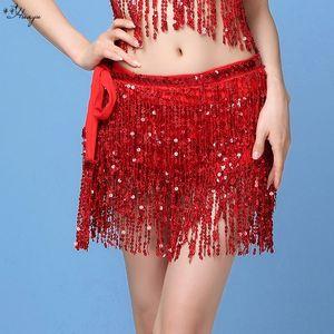Huayu performance dress sequins tassel sexy Scarf clothing Dance costume hip scarf female Latin dance nightclub clothing