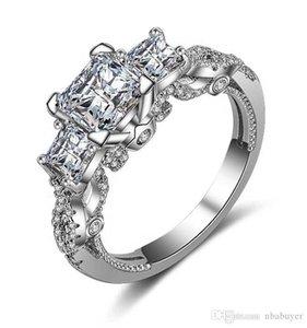 2020 choucong Marque Desgin luxe Bijoux argent 925 taille princesse Saphir Blanc Trois Parti Pierre Femmes Lovers Wedding Band Anneau