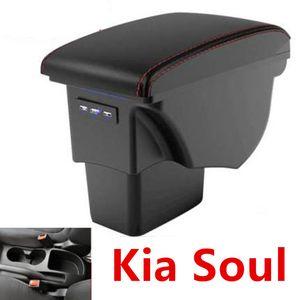 Pour Kia Soul Box Accoudoirs cuir Intérieur de voiture Pièces Center Console Box Accoudoirs Accoudoirs automatique de stockage USB 2009-2014