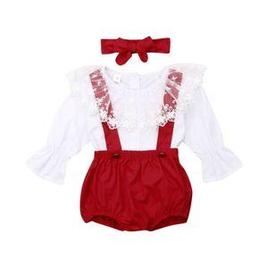 Christmas Sister Matching Kid Baby Girl Ruffle Dress Sleeve Lace T Shirt +Bib Pants + Bowknot Headband Outfit