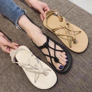 Goddess2019 Weave Fasciola Pinch Parte inferior plana con sandalias de mujer You