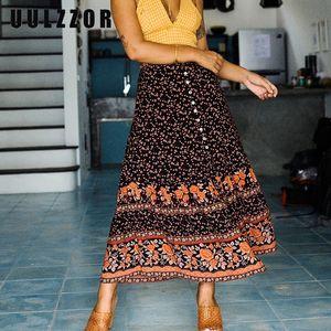 UULZZOR Women Bohemian Skirts Floral Printed Liberty Split A-Line Long Skirt With Buttons Boho Gypsy Midi Skirts Womens' Skirt