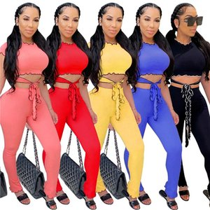 Tracksuits Solid Color Skinny Top Hollow Out Womens Designer 2PCS With Drawstring Irregular Summer Female Tracksuits Ruffle Summer Womens