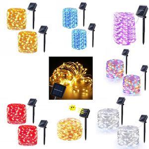 7m 12m 22m lâmpadas solares LED luzes de corda 100/200 LEDs ao ar livre Fadas de fadas de fadas de festa de Natal Garlands Garim solar à prova d'água