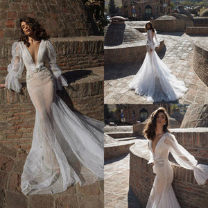 2020 New Wedding Dresses Sexy V Neck Long Sleeves Lace Appliques Mermaid Bridal Gowns Custom Made Backless Sweep Train Wedding Dress