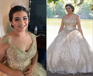 Amazing Gold Sequined Fabric Cheap Ball Gown Quinceanera Prom Dresses Tulle Applique Lace Cap Sleeves Sweet 15 masquerade evening gown