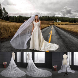 Elegant Wedding Veil 3 Meters Long Soft Bridal Veils With Comb One-layer Ivory White Color Bride Wedding Accessories CPA078