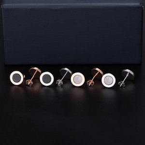 S925 Sterling Silver Nails Simple Black Agate Round Letter Double-Sided Earrings