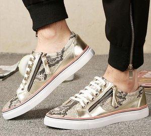 Venta caliente-Moda Británica Diseñador de Moda serpentina Pisos zapatos mocasines Casual College Wind lace up Caminar Gimnasio zapatillas hombre