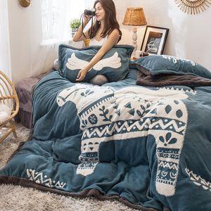Yeni yıl 5D yatak seti Velvet sıcak Bedclothes Kraliçe çarşaf 3D kış 4kgs ev 4pcs olmak set / set nevresim flanel polar