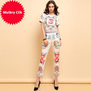 패션 봄 여름 정장 여성 캐주얼 짧은 소매 구슬 티셔츠와 우아한 천사 인쇄 바지 2pieces 세트