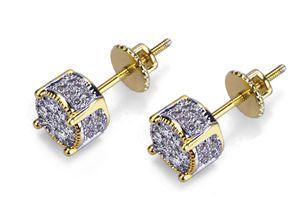 Designer Ohrringe Luxuxschmucksachen Mode Damenmens-Ohrringe Hip Hop Diamant-Bolzen-Ohrringe gefrorene heraus Bling CZ-Rock-Punk-Runde Hochzeits-Geschenk