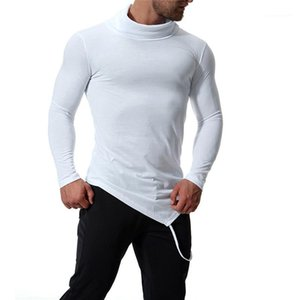 Mens Irregularity Long Sleeve T shirt Spring Fashion Irregularity High Neck Apparel Slim Solid Clothes
