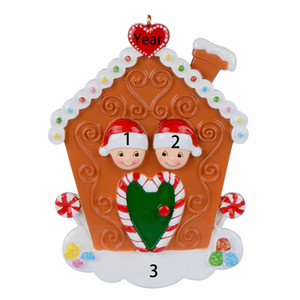 Wholesale Resin Maxora Gingerbread House Family of 2 3 4 5 6 7 8 Personalized Ornament For Christmas, New Year Decoration, Gift, Keepsakes