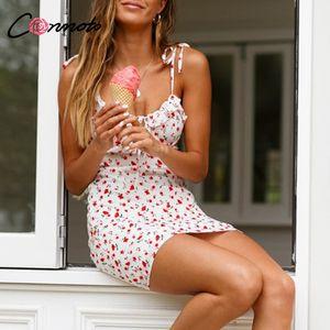 Conmoto Casual Floral Imprimir Vestido Curto Mulheres 2019 Férias de Verão Sexy Praia Chiffon Vestido Femme Lace Up Vestidos