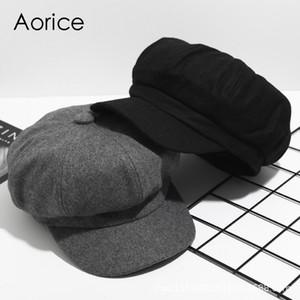 Aorice CF9101 Осень и зима ретро восьмиугольная Hat Solid Color Painter Cap Cap Winter Шерстяной Бейсбол Newspaperboy Hat