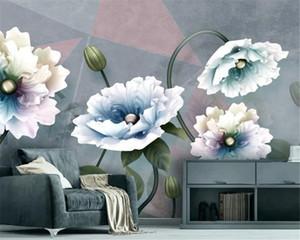 Custom 3D Wallpaper Mural Embossed Flowers European Vintage Jewelry TV Background Wall Environmental Wallpaper