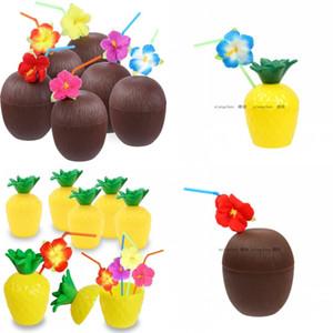 Coconut Drink Cup Tazze di ananas Hibiscus Straw Hawaii Condimento per feste Summer Beach Pool Decoration 4 5xca F1