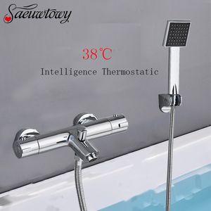 Chrome Телефон Тип Настенный термостатический смеситель для душа Набор ванной кран горячей и холодной ванной Tap Mixed клапан Ванна