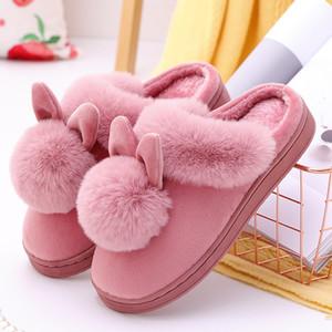 Coelho Mulheres Chinelo desenhos animados Orelhas de coelho Slip On macia Soled Inverno Quente Casa Sapatos Ladies interior Fur Chinelos Calçado Y200706