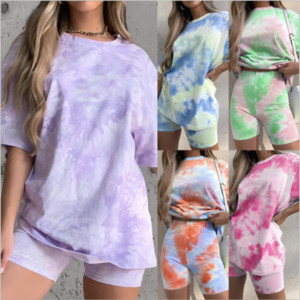 Womens Tracksuits Short Sleeve Tops Tees Shorts Suits 2PCS Pants Tie Dye Home Suits Clothing Females Comfortable Sets Loose Tshirt 2 Pieces