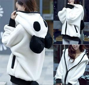Mujeres Panda Paneled Designer Coat Moda Otoño Invierno Chaquetas con capucha para mujer Casual Suelto de manga larga Ropa de abrigo femenina