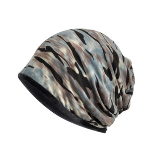 Men Women Winter Camo Beanie Hat Cap Headgear Outdoor Cycling Climbing Hiking Fleece Warm Elastic Hat Scarf Neckerchief