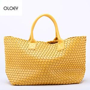 Oloey New Woven Handtaschen Nachahmung Schaffell Stern Umhängetasche Große Kapazität Eimer Tasche Gewebt Einkaufstasche Frauen Lederhandtaschen Y19061803