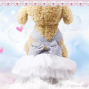 شريط بروتيل كلب الملابس الزرقاء القوس الشاش تنورة الكلب التنورة الداخلية الربيع والصيف الوردي نمط جديد الدينيم 8 5gcb1