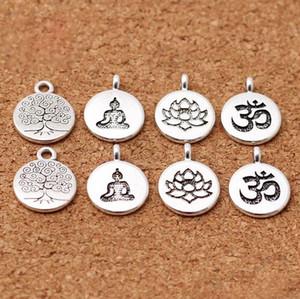 Aksesuarlar Yapımı 100pcs / lot Tibet Gümüş Yuvarlak Lotus / Yaşam Ağacı / Buda Charms 15mm El yapımı Metal Kolyeler DIY Takı