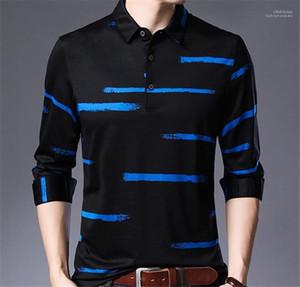 Giyim Düzensiz Çizgili Baskı Erkek Tasarımcı Polos Moda Uzun Kollu Yaka Boyun Mens Polos Casual Erkekler