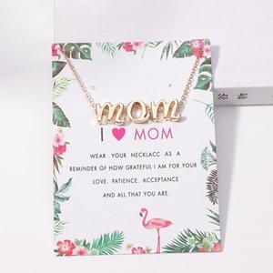 Nouvelle Arrivée I Love MOM colliers avec carte-cadeau De luxe cercle cristal Pendentif Or chaînes réglables Pour les femmes maman bijoux de la fête des mères