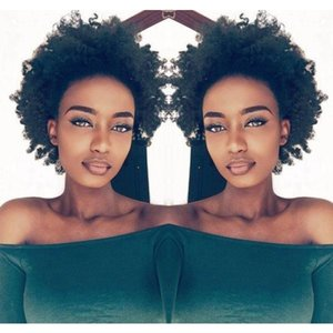 beautiful hairstyle soft Indian Hair afro African American short cut kinky curly black wigs Simulation Human Hair curly wig for lady