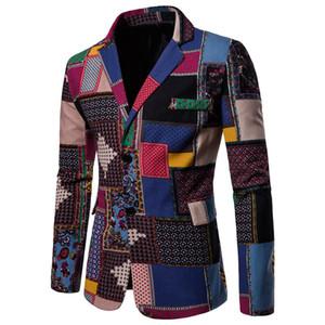 Blazer da uomo 2018 Spring Nationality Leaf stampato moda maschile pulsante singolo vestito giacca maschile giacca a maniche lunghe giacche