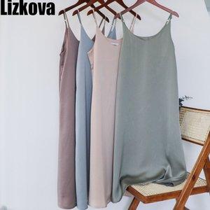 Lizkova robe d'été sans manches femmes col en V Robe élégante 2020 Vert Spaghetti Strap Sangle Ajuster