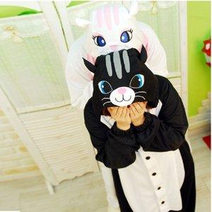 Animal Cat Pajama наборы Женщины Зимний Крытый мультфильм Цельный Onesies взрослых длинным рукавом Аниме Sleepwear Pijamas