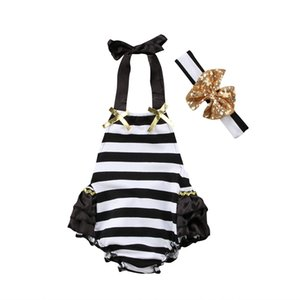 2020 New Infant Newborn Baby Girls Striped Lace Summer Ruffle Jumpsuit Sunsuit Outfits Set with Headkerchief