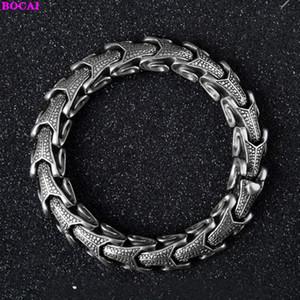 BOCAI S925 стерлингового серебра мужской браслет личности способа тайский серебряный браслет овечьей головы властная для мужчин